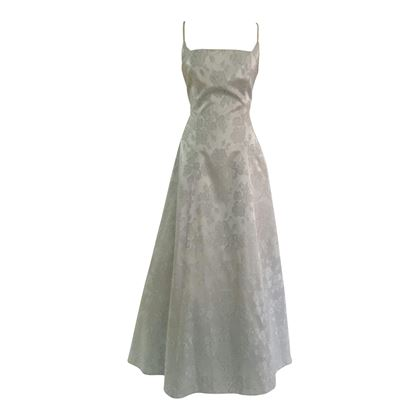 Vintage satin brocade pale blue wedding dress