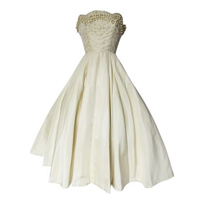 Vintage 1950s Rhinestone Encrusted Strapless Cream Wedding Dress