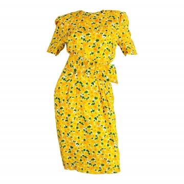 Hardy Amies 1980's Demi-Couture Summery Floral Silk yellow vintage Dress