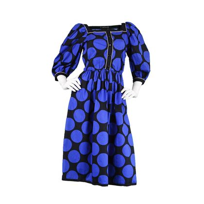 Louis Féraud 1980's Polka Dot Puff Sleeve blue & black vintage Dress