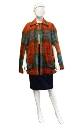 Andrew Stewart 1970s mohair & wool orange vintage cape