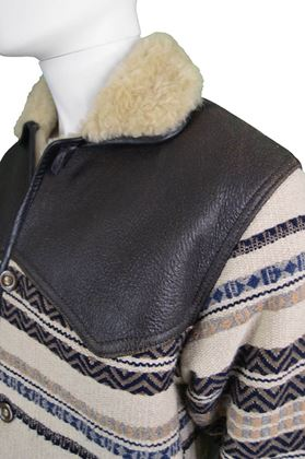 Vintage 1980's Shearling & Tapestry Men's striped Vintage Coat