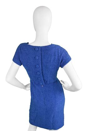 Jacques Heim 1960's Wool Bouclé blue vintage Dress