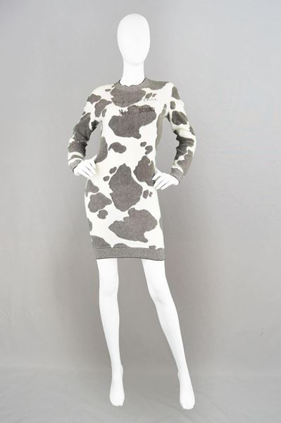 Moschino 1980's Muuschino Cow Print grey & white vintage Sweater Dress
