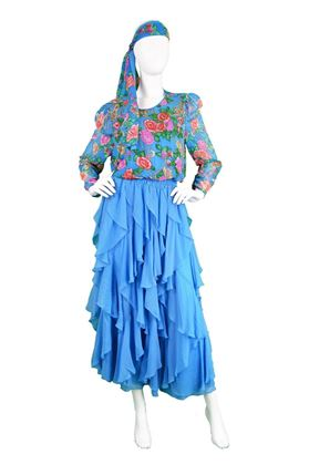 Diane Freis 1980's Tiered Silk Georgette blue vintage Dress & Headscarf