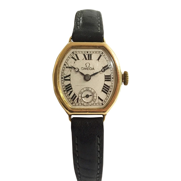 Omega oval shaped 9 carat gold ladies vintage watch