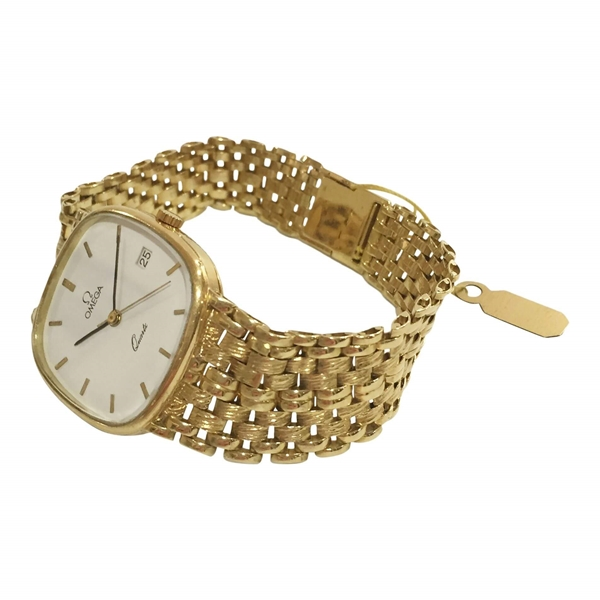 Omega Quartz yellow gold with date feature mid size mens vintage watch