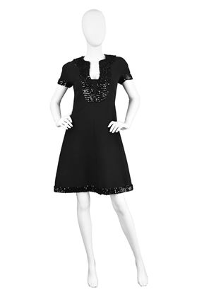 Emanuel Ungaro 1960's Rare Crepe Vintage black shift dress