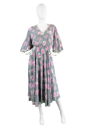 Balenciaga 1980's Silk Flutter Sleeve Grey & Pink Vintage Dress