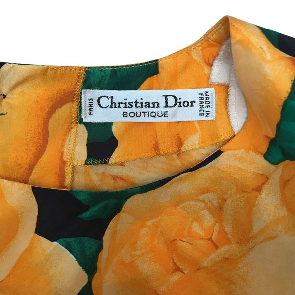 Christian Dior 1980s Long Sleeved Rose Print Multicoloured Vintage Top