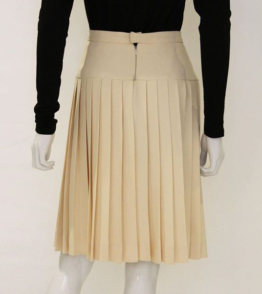 Chanel 1980s Pleated silk cream vintage Skirt