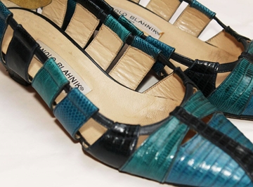 Manolo Blahnik 1980s Lizard Skin blue shoes