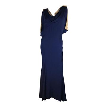 Vintage 1930s crepe & lame fishtail blue dress