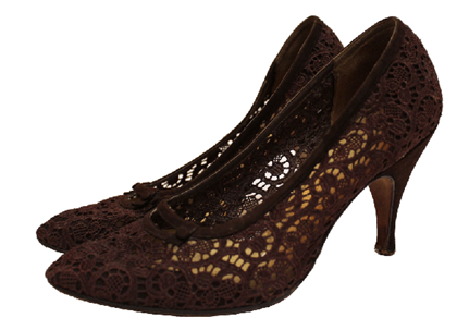 Pinet of New Bond Street 1950s lace brown vintage shoes