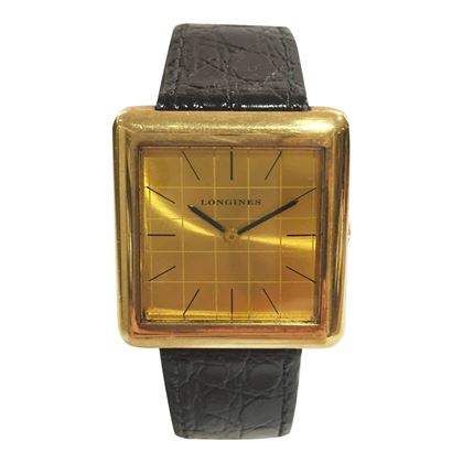 Longines square chequer dial gold plate men's vintage watch