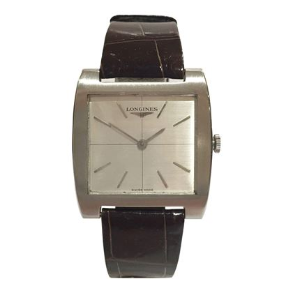 Longines square faced stainless steel mens vintage watch