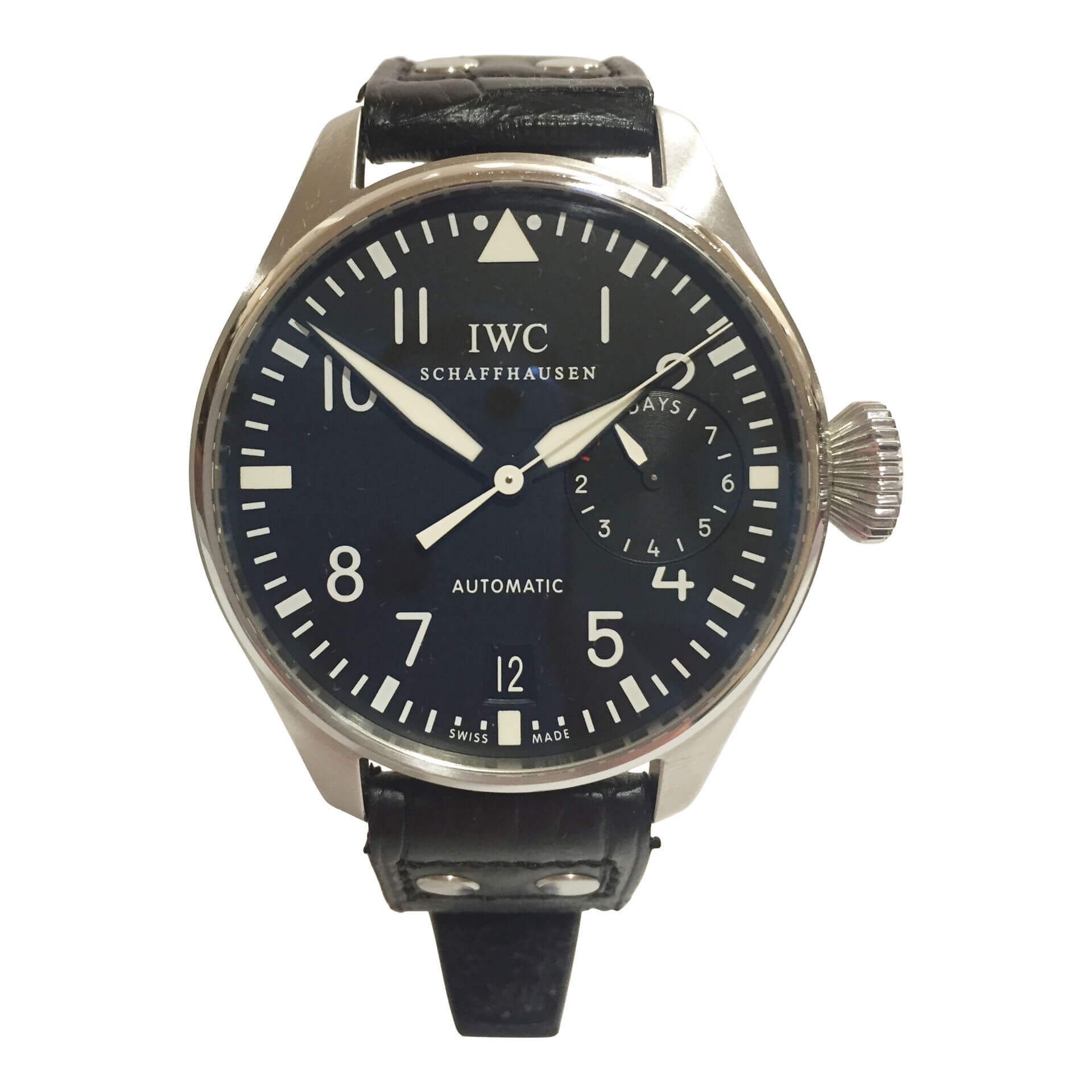 oversize iwc stainless steel men 39 s watch with black fac. Black Bedroom Furniture Sets. Home Design Ideas