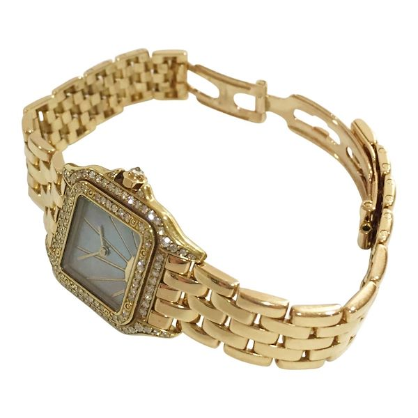 Cartier Panthère 18 carat yellow gold diamond bezel and mother of pearl sunrise dial ladies vintage watch
