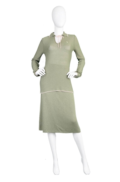 Christian Dior 1970's Two Piece Knit green vintage Skirt Suit
