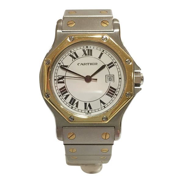 Cartier Hexagon Santos stainless steel and yellow gold men's vintage watch