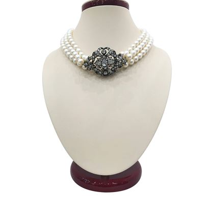 Antique Victorian Diamond & Pearl Floral Choker Necklace
