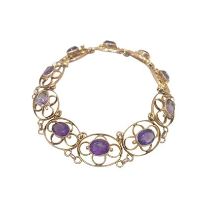 Antique Edwardian Floral Oval Filagree and Amethyst Link Bracelet