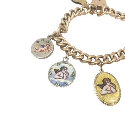 Antique Late Victorian Rose Gold Curb Link and Cherub charm Bracelet