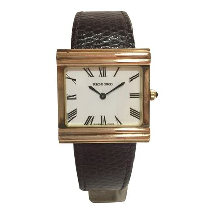 Bueche Girod yellow gold square vintage men's watch