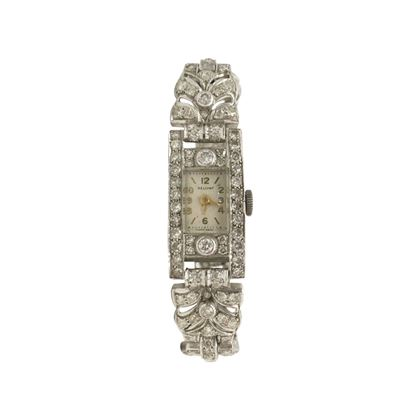 Vintage Art Deco ladies diamond and platinum cocktail watch