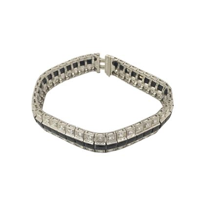 Vintage Art Deco black onyx & diamond set bracelet