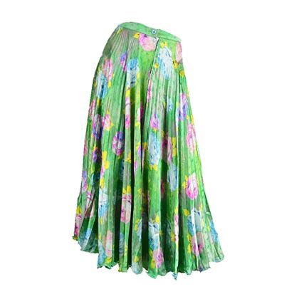 Emanuel Ungaro 1980's Silk Accordion Pleated green vintage Skirt