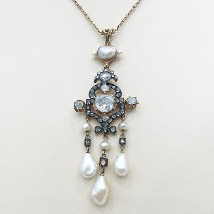 Antique 19th Century diamond and natural pearl pendant necklace