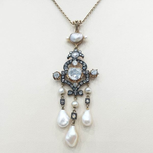 Antique 19th century diamond and natural pearl pendant necklace antique 19th century diamond and natural pearl pendant necklace mozeypictures Gallery