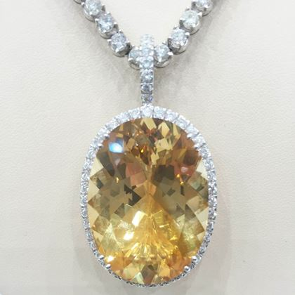 Antique Edwardian Citrine and Diamond Pendant Necklace