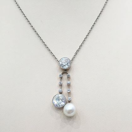 Antique Edwardian Pearl and Diamond Pendant and Chain
