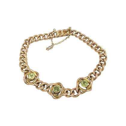 Antique Late Victorian Curb Link and Peridot bracelet