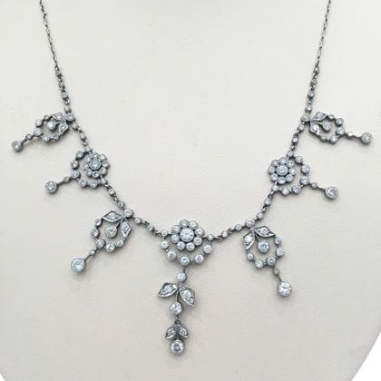 Antique Edwardian Diamond Fringe Floral Necklace