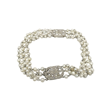 Antique Edwardian natural pearl & diamond set bracelet