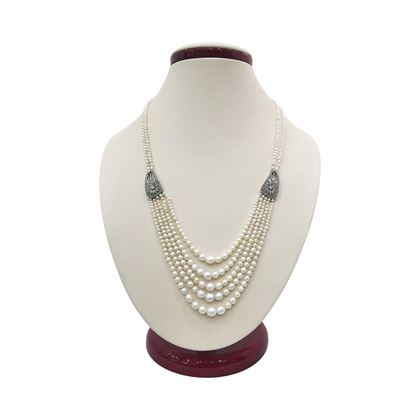 Antique Edwardian Natural Pearl & Diamond Strand Necklace