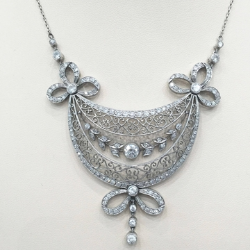 Antique Edwardian diamond garland pendant necklace