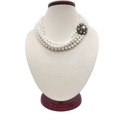 Antique Mid Victorian Cultured Pearl and diamond clasp Necklace