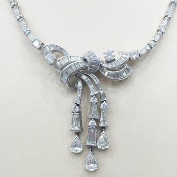 Vintage Art Deco diamond set Bow pendant necklace