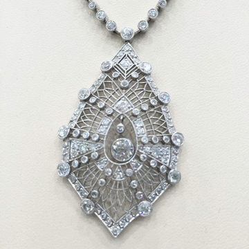 Antique Edwardian filigree & diamond pendant necklace