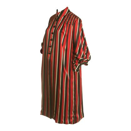 Galanos 1950s Satin Oversized Striped Evening Red Vintage Coat