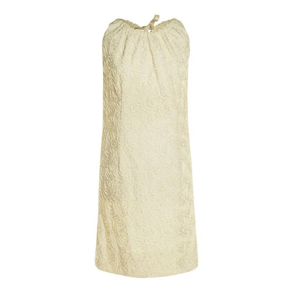 Sophisticated Miss 1960s Ribbon Lace Shift Cream Vintage Dress
