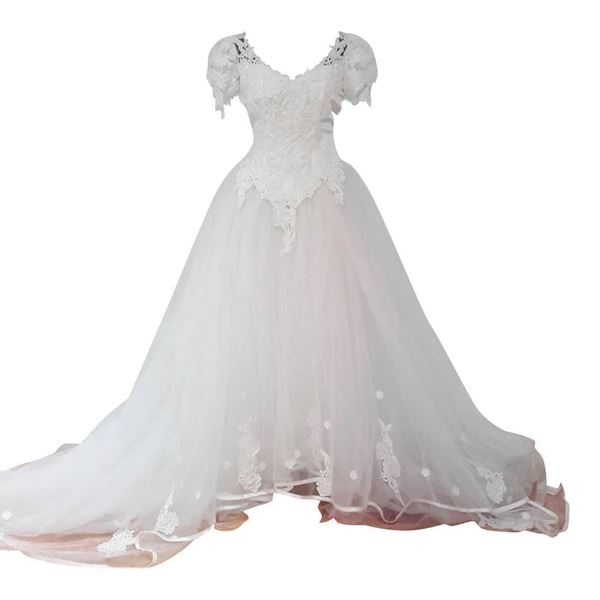 Vintage Wedding Dresses Under 1000: 1980's Wedding Dress With Tulle Skirt