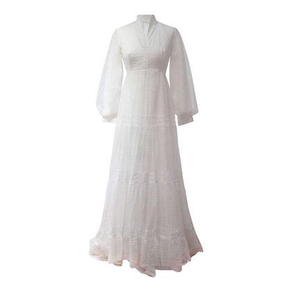 Vintage 1970s Geometric Lace Wedding Dress