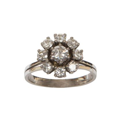 Vintage diamond and platinum basket cluster ring