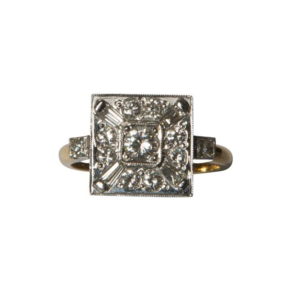 Vintage square diamond cluster ring