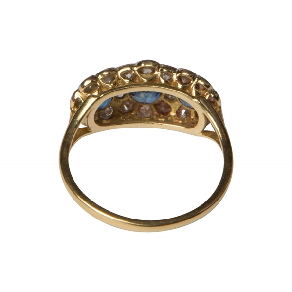 Antique sapphire and diamond triple cluster ring